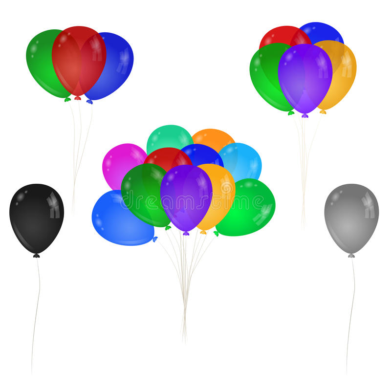 A bunch of colorful balloons. Single balloon. vector illustration