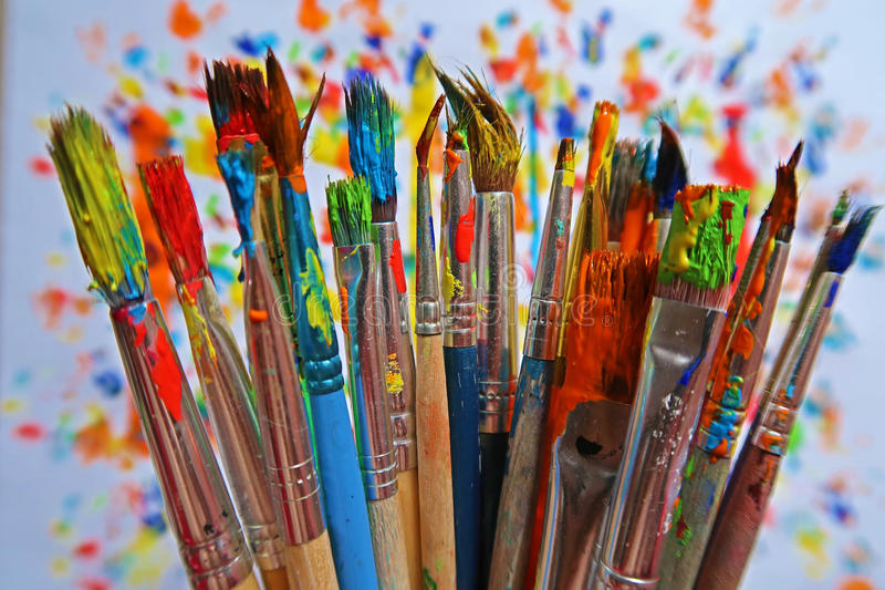 A Bunch of Colorful Brushes stock photos