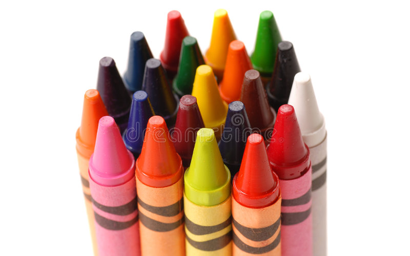 Bunch of colorful crayons. A bunch of colorful crayons standing on end stock photography