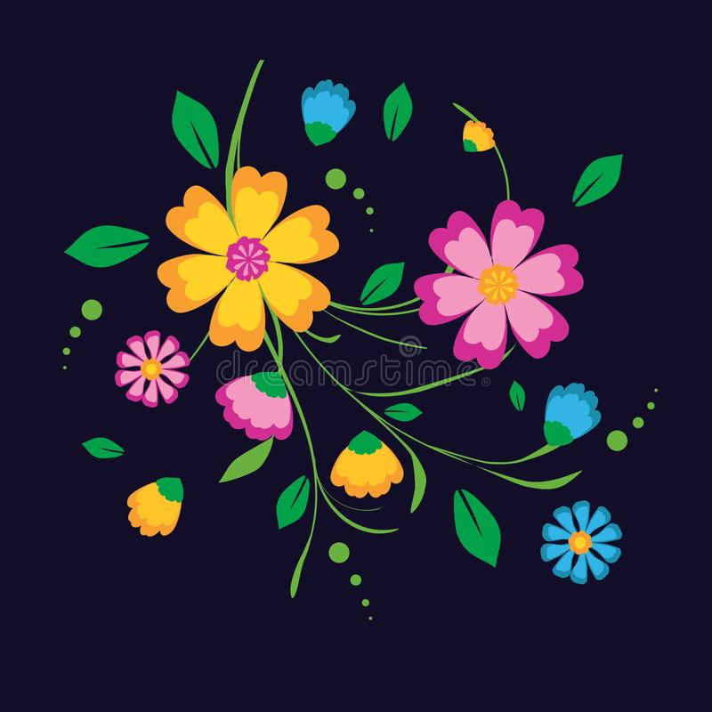 A bunch of colorful flowers. A bunch of very decorative and colorful flowers on a dark blue background vector illustration