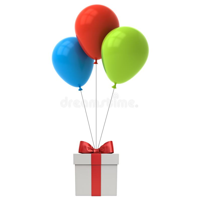 Bunch of colorful glossy balloons tied to gift box or present box with red ribbon bow royalty free illustration