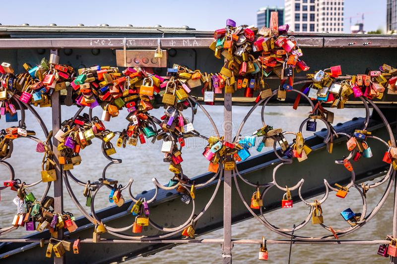 A bunch of colorful padlocks. stock image
