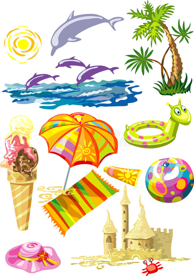 Download Bunch Of Colorful Sea Holiday Stuff Stock Vector - Illustration: 9644003