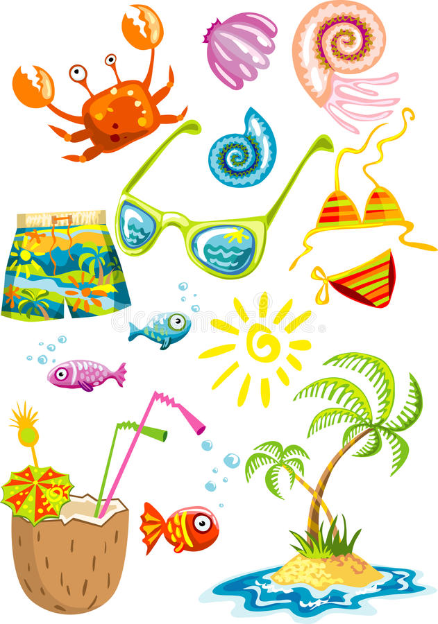 Download Bunch Of Colorful Sea Holiday Stuff Stock Vector - Image: 9644035