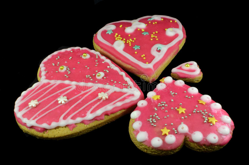 Bunch of the cookies in the glaze royalty free stock photos