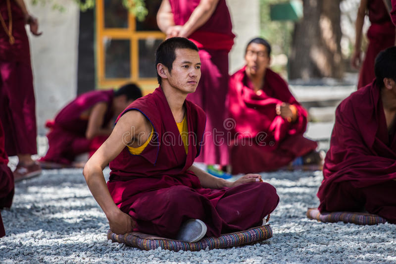 A bunch of debating Tibetan Buddhist monks at Sera Monastery. This event is a famous activity at Sera Monastery in Lhasa, Tibet. A group of Lama are separated stock photo