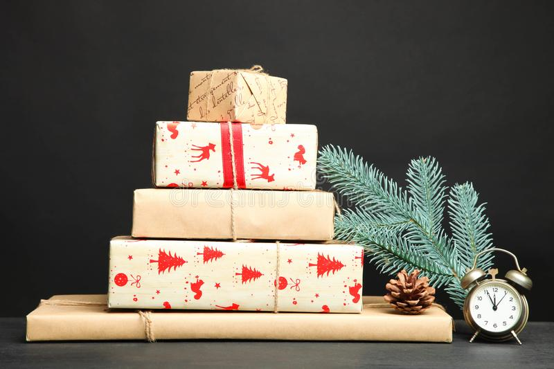 Bunch of different Christmas gifts royalty free stock photography