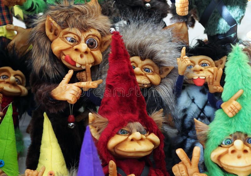A bunch of different colorful little cute trolls. Spain royalty free stock photography