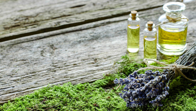 Bunch of dry lavender and bottle with aromatic oil. stock images