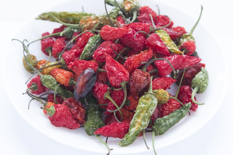 A bunch of dry red chili peppers.  royalty free stock photo