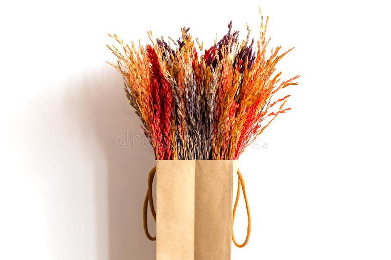 Bunch of Dry Rice Spike For House Decor stock photos