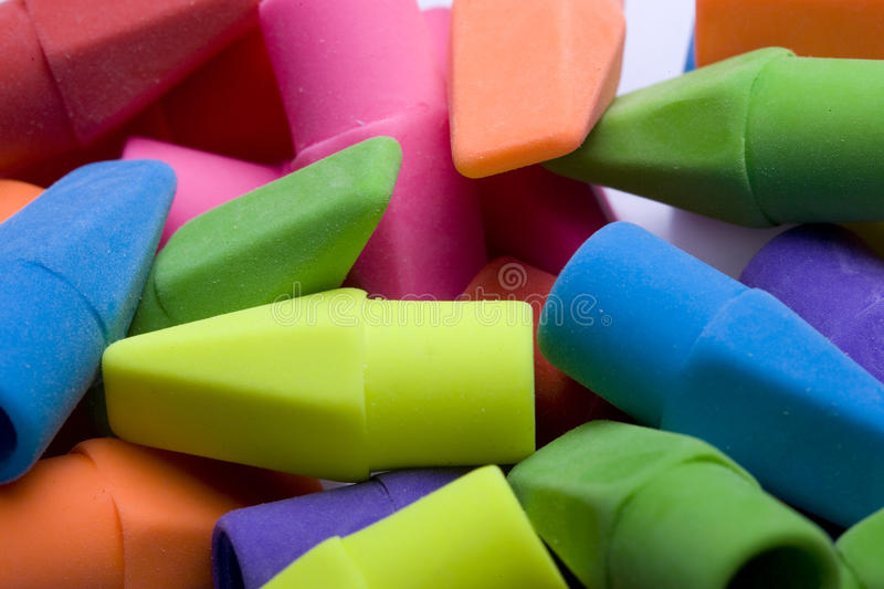 A bunch of erasers. stock photography