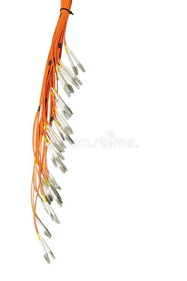 Bunch of fiber optic cables and connectors, isolated on white background. IT technology, data transmission channel royalty free stock photography