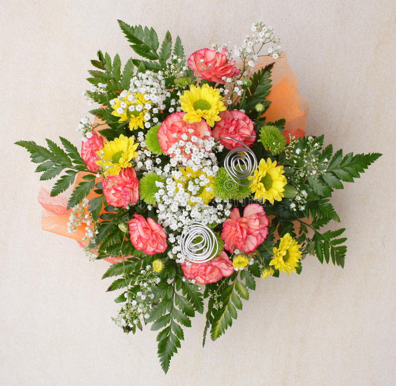 Bunch of flowers. Bunch of many-coloured flowers, chrysanthemum and pinks stock photo