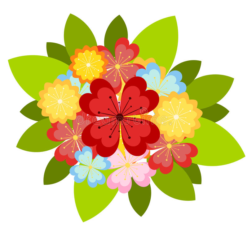 Bunch of flowers. Bunch of colorful various flowers. Vector illustration stock illustration