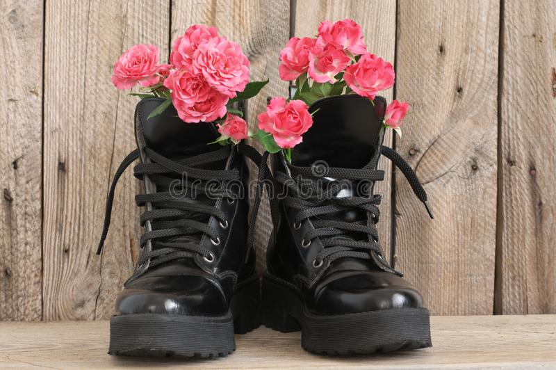 Bunch of flowers in black combat boots. Bunch of pink rose flowers in black combat boots on rough wood background stock photography