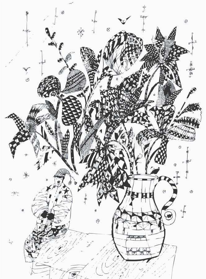 Bunch of flowers and clown. The black-and-white illustration of the bunch of flowers standing in the vase and the toy clown vector illustration