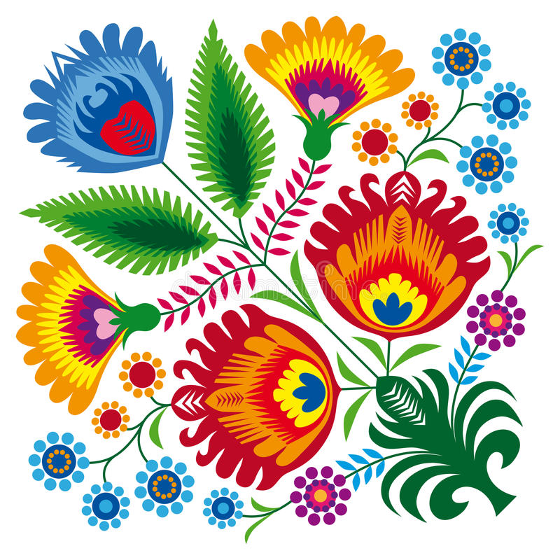 Bunch of flowers. Illustration of Polish traditional papercut from Lowicz region vector illustration