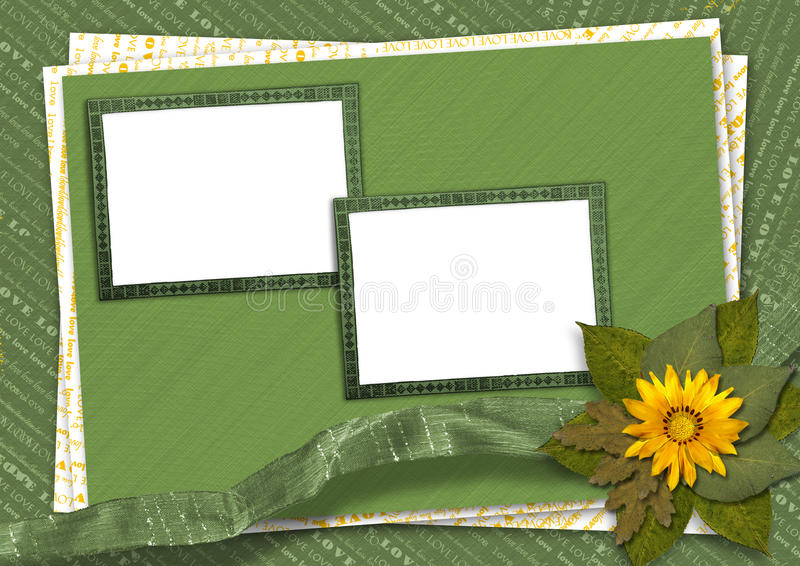 Bunch of flowers with rag. Bunch of flowers on the abstract background with rag royalty free illustration