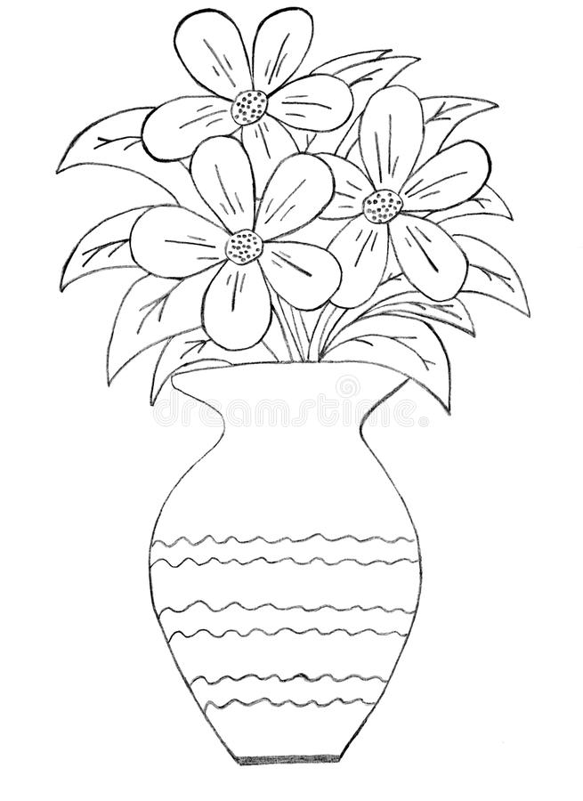 Bunch Of Flowers In A Vase Drawings Drawing Pictures Of