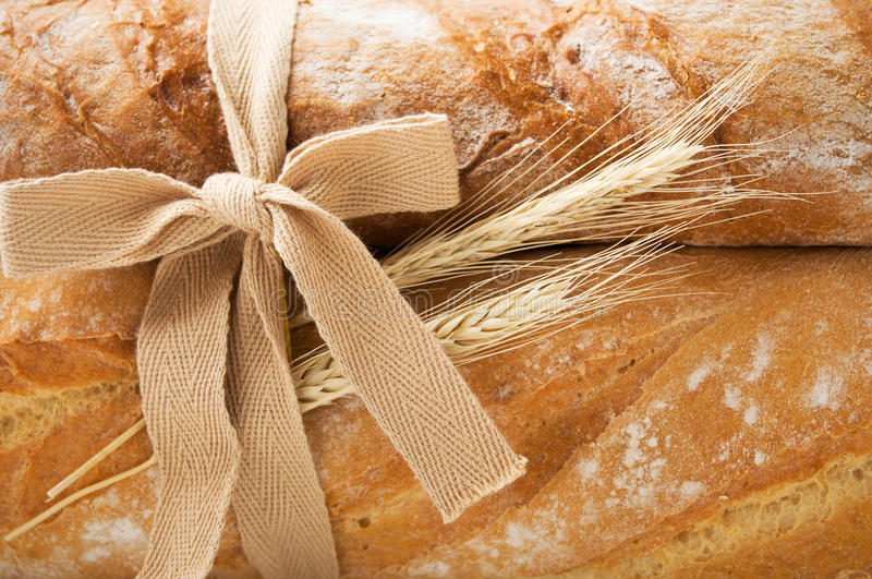 Bunch Of Fresh Bread And Wheat Ears Royalty Free Stock Photo
