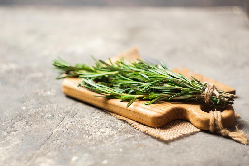 A bunch of fresh fragrant rosemary on a cutting board on a gray concrete background. Copy space. Selective focus. royalty free stock image