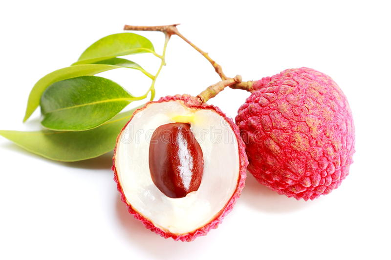 Bunch of fresh Lichi or lychee on White background. royalty free stock photo