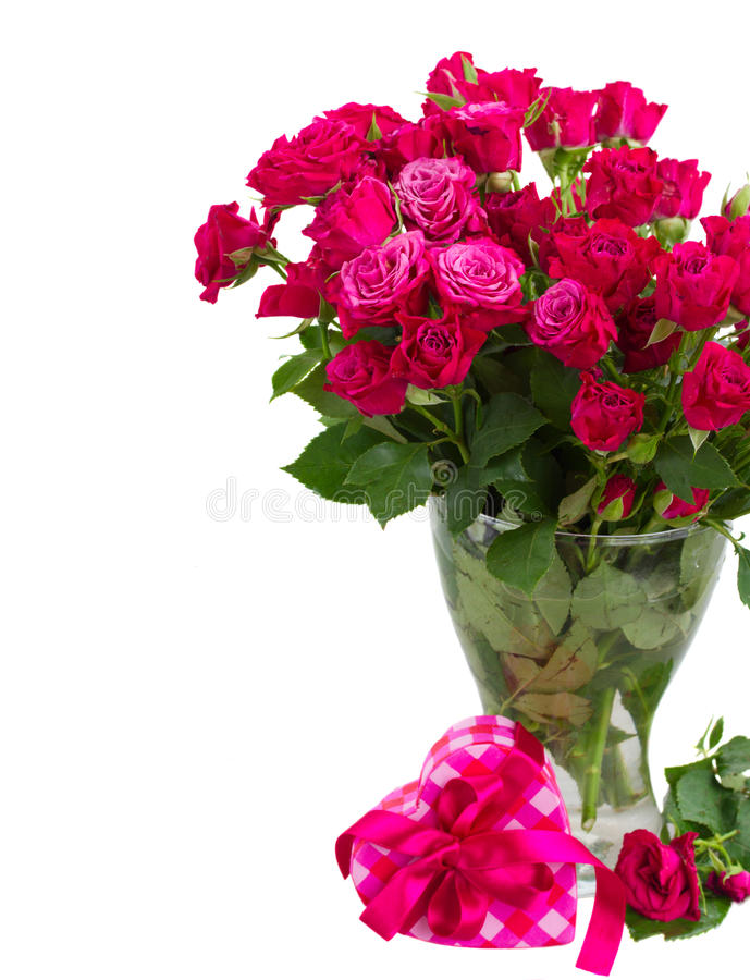 Bunch of fresh mauve roses stock image
