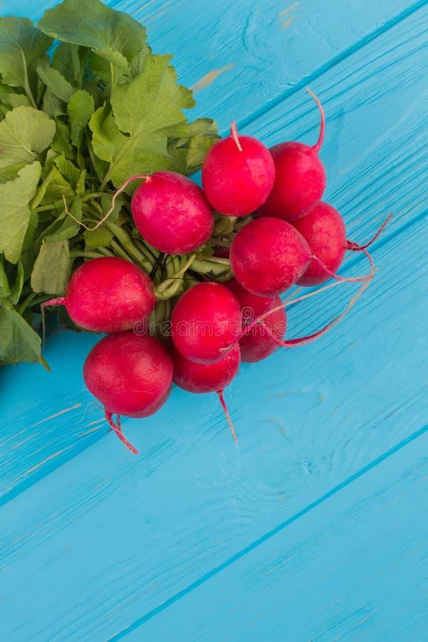 Bunch of fresh radish on blue wooden background. stock photography