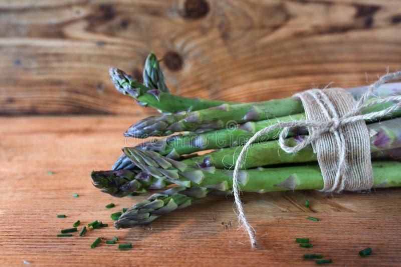 Bunch fresh green asparagus stock image