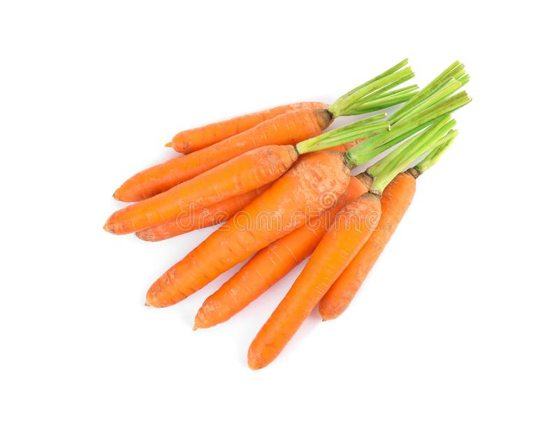 Bunch of fresh ripe carrots isolated stock photo