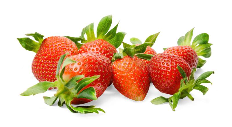 A bunch of fresh tasty strawberries on a white isolated background. Close-up. Bright colours. stock photos