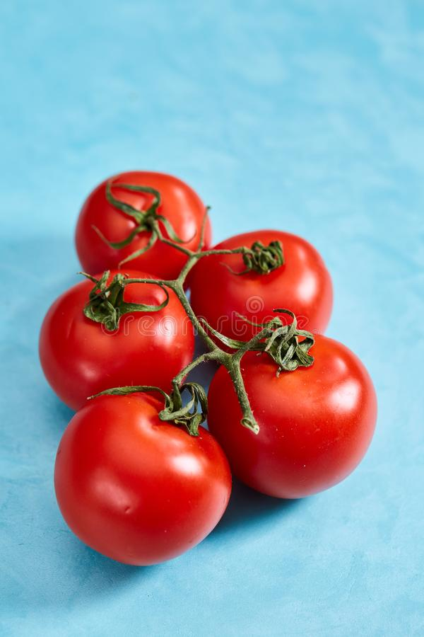 Bunch of fresh tomatoes with green leaves isolated on blue background, top view, close-up, selective focus stock photos