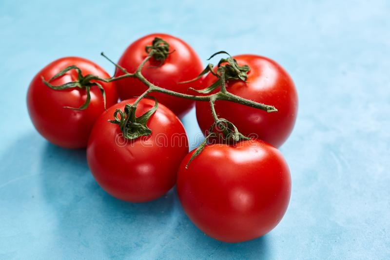 Bunch of fresh tomatoes with green leaves isolated on blue background, top view, close-up, selective focus royalty free stock images