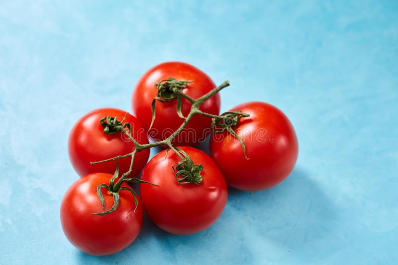 Bunch of fresh tomatoes with green leaves isolated on blue background, top view, close-up, selective focus royalty free stock photos