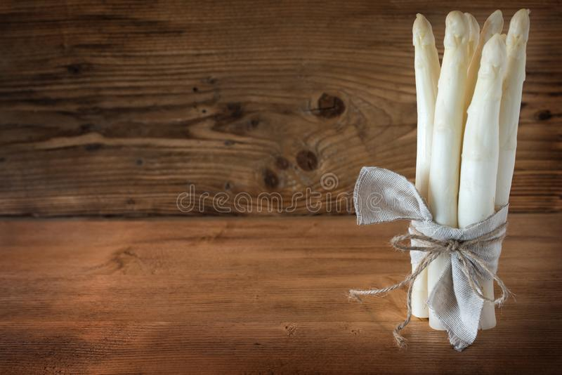 Bunch of fresh white asparagus royalty free stock photography