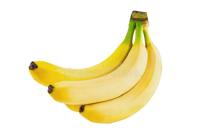 Bunch of fresh whole bananas isolated on white background royalty free stock images