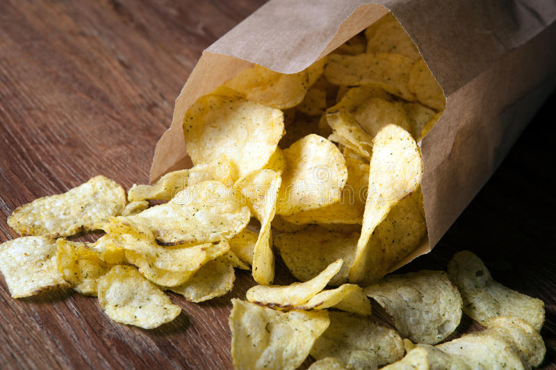 Bunch of fried potato chips in the package royalty free stock image