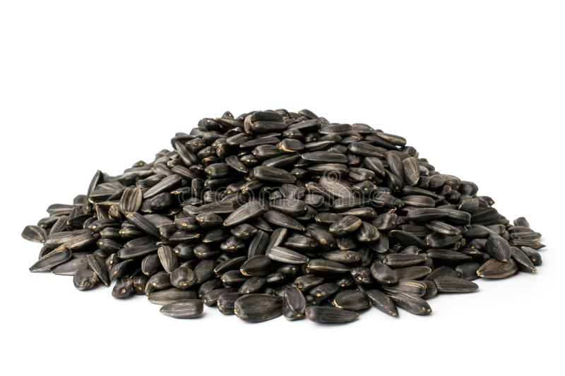 Bunch of fried sunflower seeds on a white, close up royalty free stock image