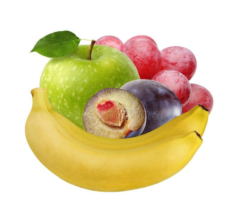 Banana, green Apple, purple plum, red grapes. whole fruit isolated on white background royalty free stock photos