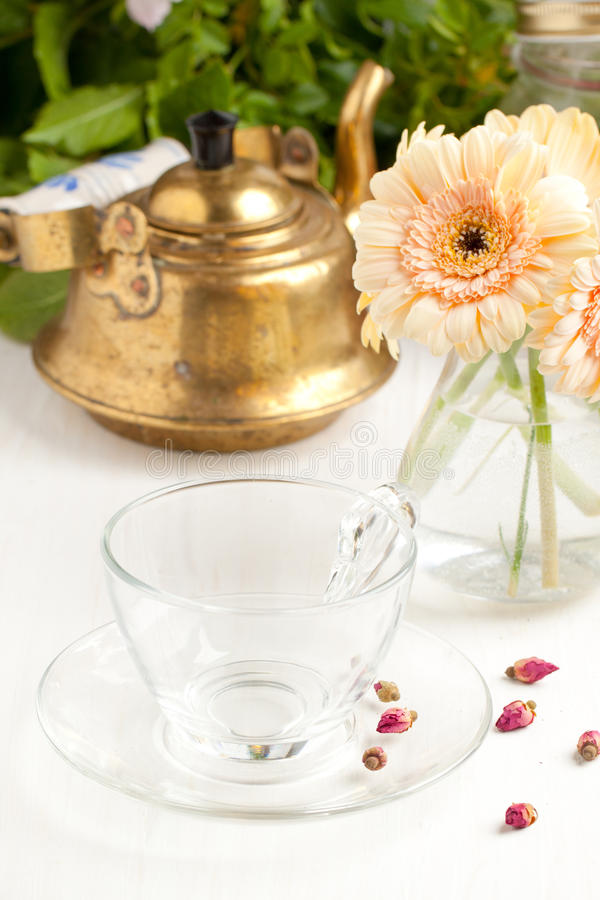Download Bunch Of Gerbera Flower With Empty Glass Cup Stock Image - Image: 19641825