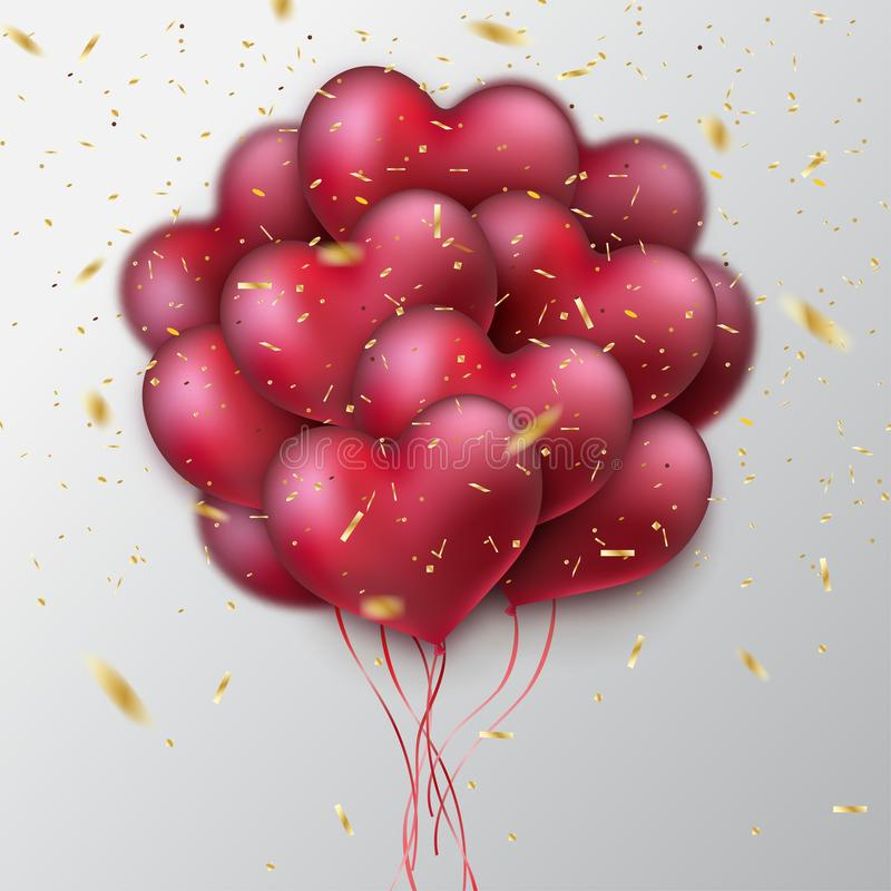 Bunch of glossy heart balloons. Glittering gold confetti stock illustration