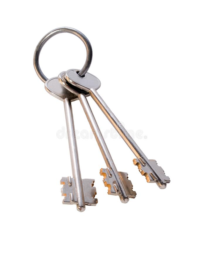 Bunch of golden keys on the ring royalty free stock images