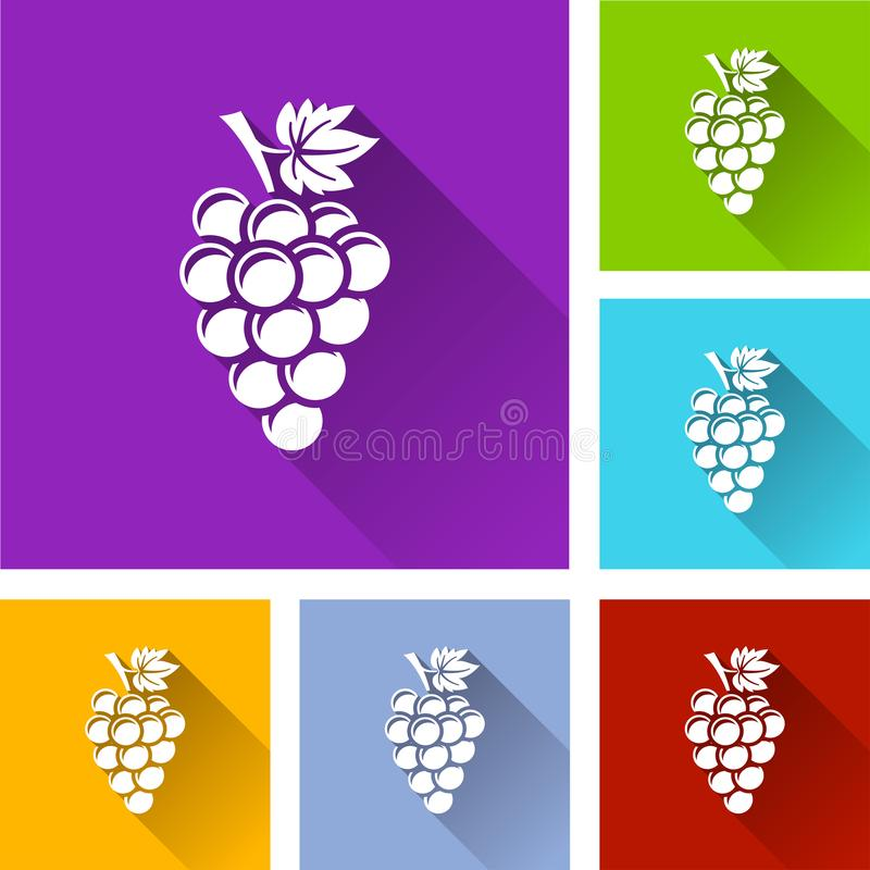 Bunch of grapes icons. With long shadow vector illustration