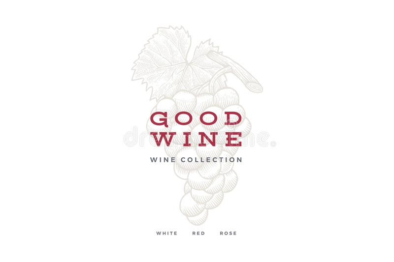 Bunch of grapes on light background. Engraved style. Logo template for wine store, wine card design, restaurant menu or bar. stock illustration