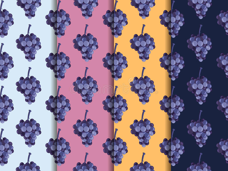 Bunch of grapes. Set of seamless patterns. The pattern for wallpaper, tiles, fabrics, backgrounds. Vector illustration. vector illustration