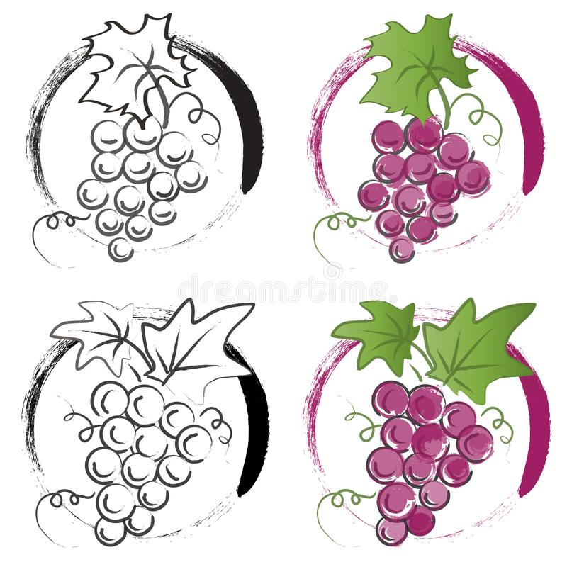 Bunch of grapes. Vector logo illustration on a white background. stock photography