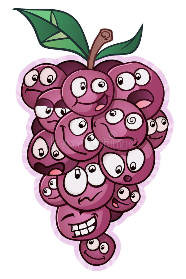 Bunch of Grapes on a Vine Gossiping. A large bunch of grapes with faces, gossiping to each other royalty free illustration