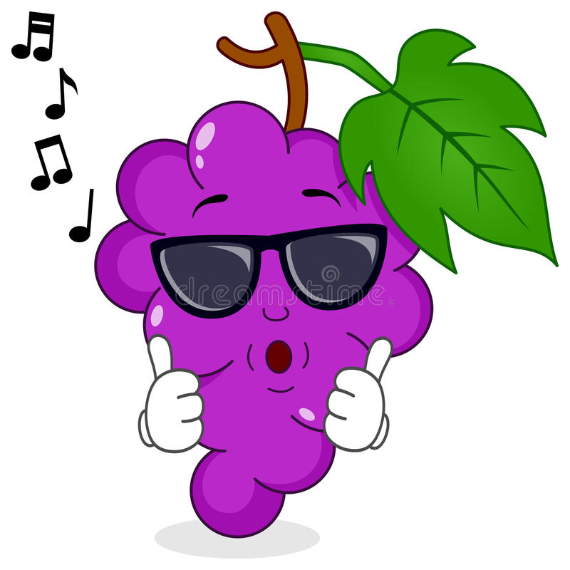 Bunch of Grapes Whistling with Sunglasses. A cool cartoon violet bunch of grapes character whistling with sunglasses, isolated on white background. Eps file royalty free illustration