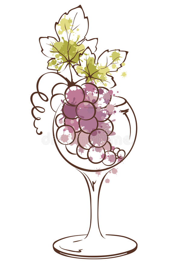 Bunch of grapes in wineglass stock illustration